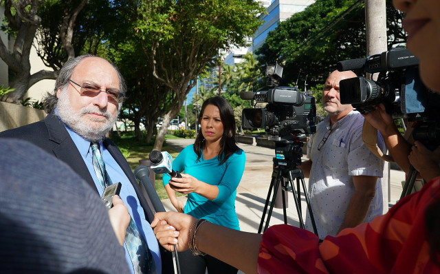 Federal Public Defender Alexander Silvert speaks to media after retired HPD officer guilty plea at Federal Court. 16 dec 2016