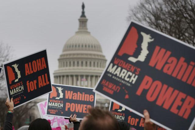 Hawaii marchers head towards The Mall via near the US Capitol building. 2017 Womens March Washington DC. 21 jan 2017