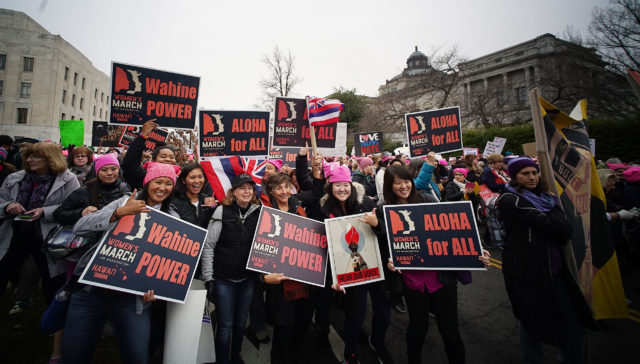 Hawaii marchers 2017 Womens March Washington DC. 21 jan 2017