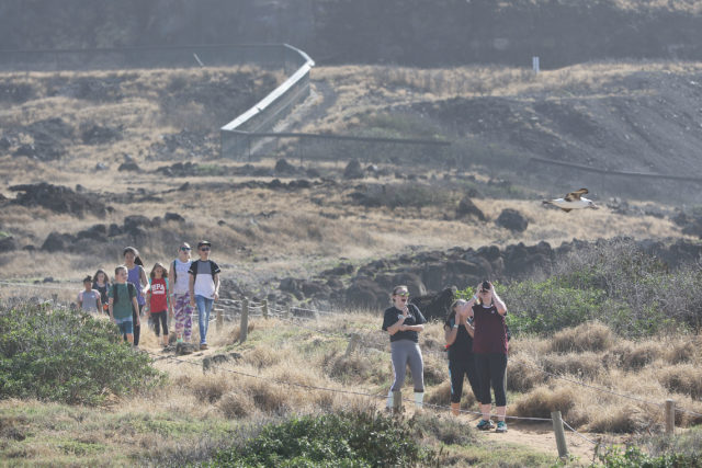 Visitors walk on roped off trail at Kaena Point. 7 feb 2017