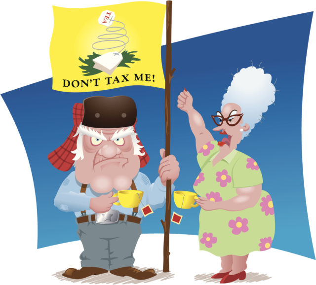 These elderly Tea Partiers are here to tell you it's no party. They angrily guard their little patch of the Midwest against change and progress they didn't sign up for. Created in Illustrator CS.
