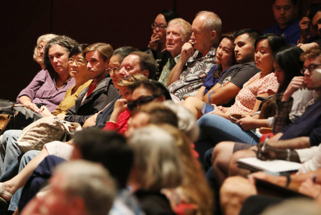Senator Brian Schatz town meeting Mamiya Theatre crowds. 17 april 2017