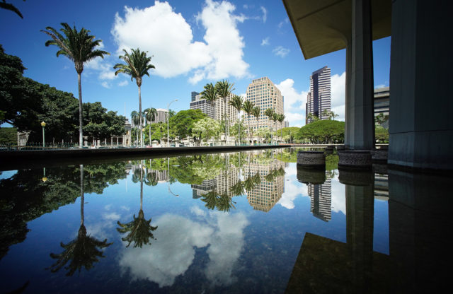 Capitol low winds downtown Honolulu reflections. 27 april 2017