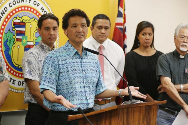 Chair Honolulu City Council Ron Menor speaks on rail leg measure2. 1 may 2017
