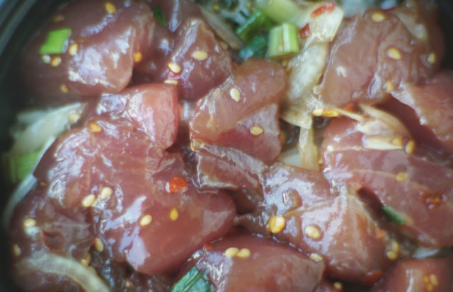 Fresh Ahi Poke bowl fish local fish. 22 may 2017