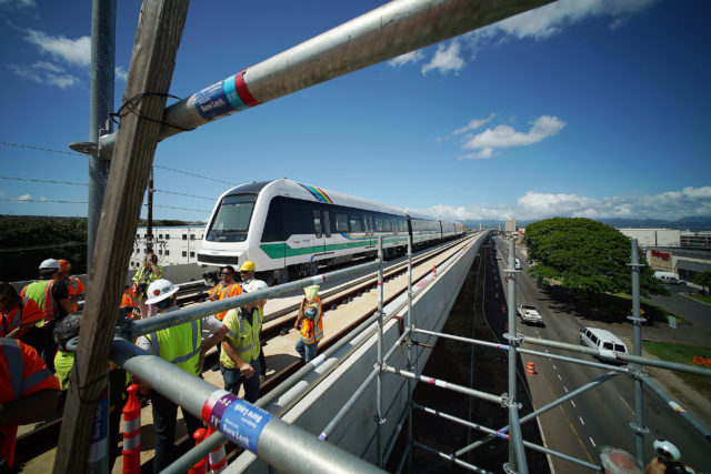 HART rail guideway car photo op Farrington Hwy Waipahu Sugar Mill train wide1. 30 may 2017