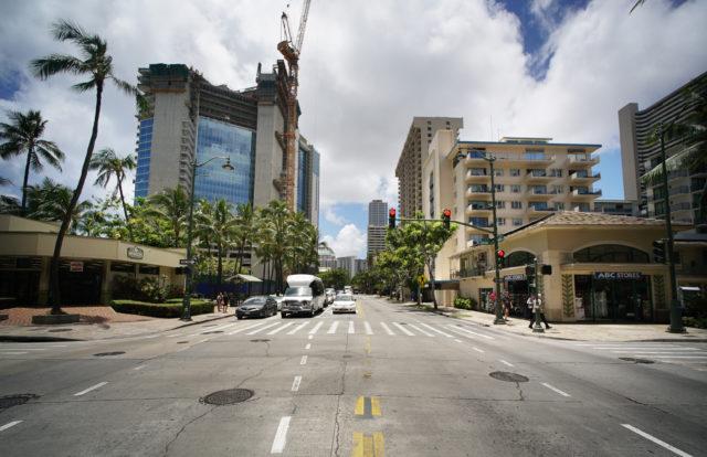 Kuhio Avenue construction Waikiki ABC store. 11 may 2017
