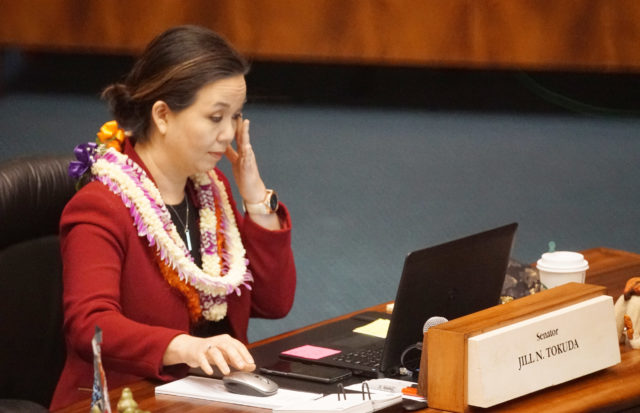 Senator Jill Tokuda wipes tears away after giving a short speech about changes that were coming up regarding her WAM chair. 4 may 2017