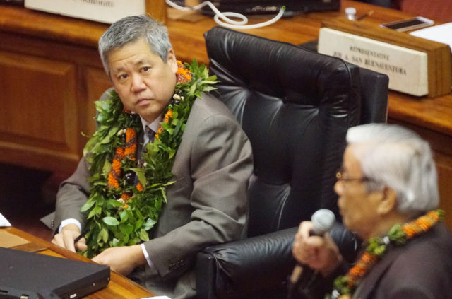 Speaker Scott Saiki seated before being chosen as Speaker of the House. 4 may 2017