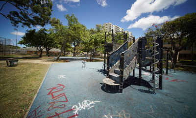 Beretania Park with grafitti scrawled on the ground. 9 june 2017
