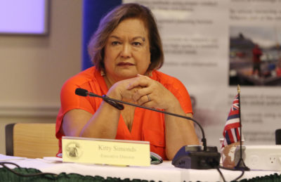 Executive Director Kitty Simonds during WESPAC meeting held at Laniakea Auditorium.