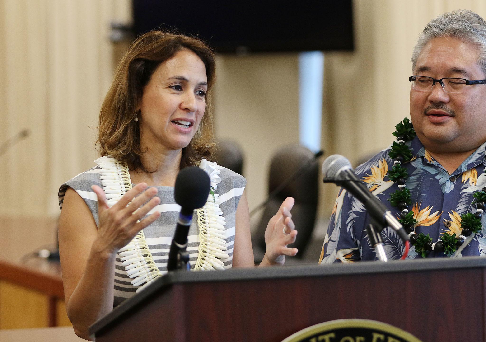 Hawaii Education Superintendent Christina Kishimoto at presser held at the BOE building. 7 june 2017