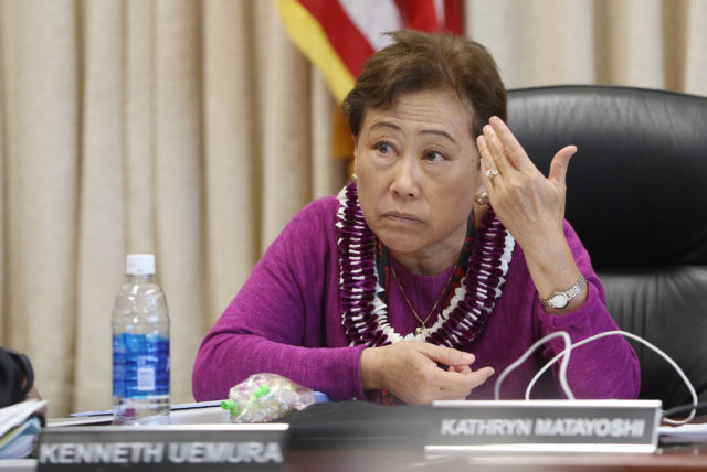 Outgoing Education Superintendent Kathryn Matayoshi during board meeting.