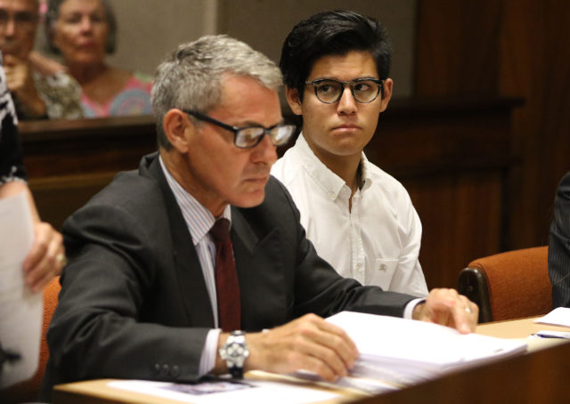 Christian Gutierrez sits with his attorney Myles Breiner in Judge Jeanette Castagnetti's courtroom before sentencing.