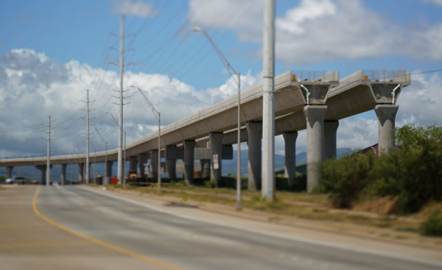 East Kapolei End of HART rail guideway. Tilt shift lens used.