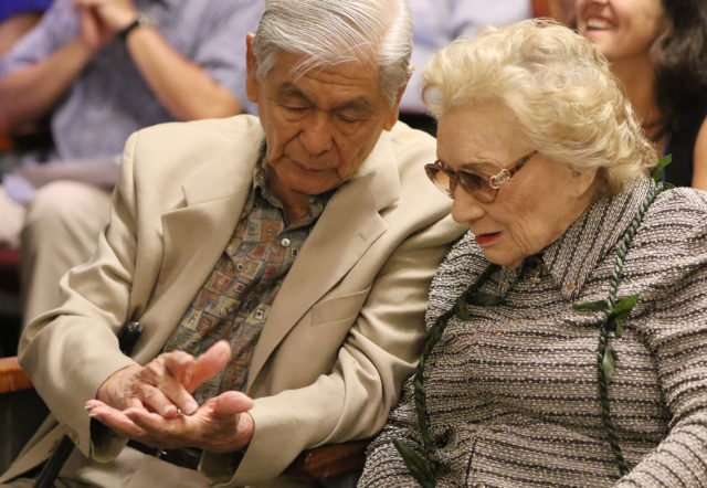 Abigail Kawananakoa talks story with Governor George Ariyoshi before Hawaii Supreme court case regarding Mauna Kea. 27 aug 2015