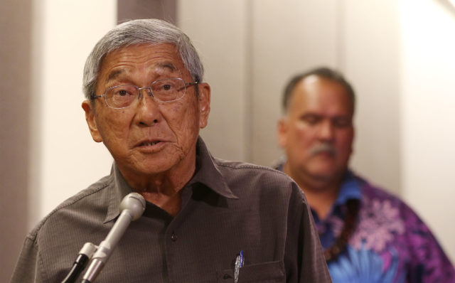 Big Island Hawaii Mayor Harry Kim testifies against senate bill on rail funding during WAM hearing. Capitol.