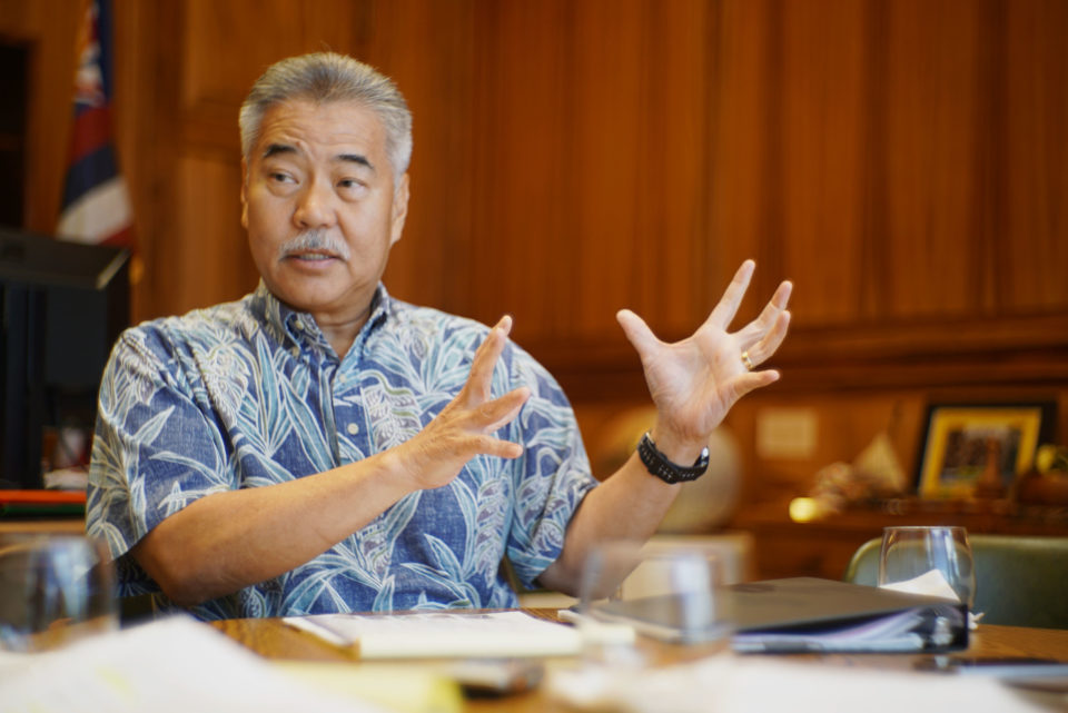 Governor David Ige education interview in his office.