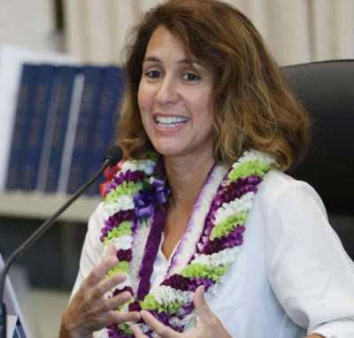 Education Superintendent Christina Kishimoto gives report to Board of Education.
