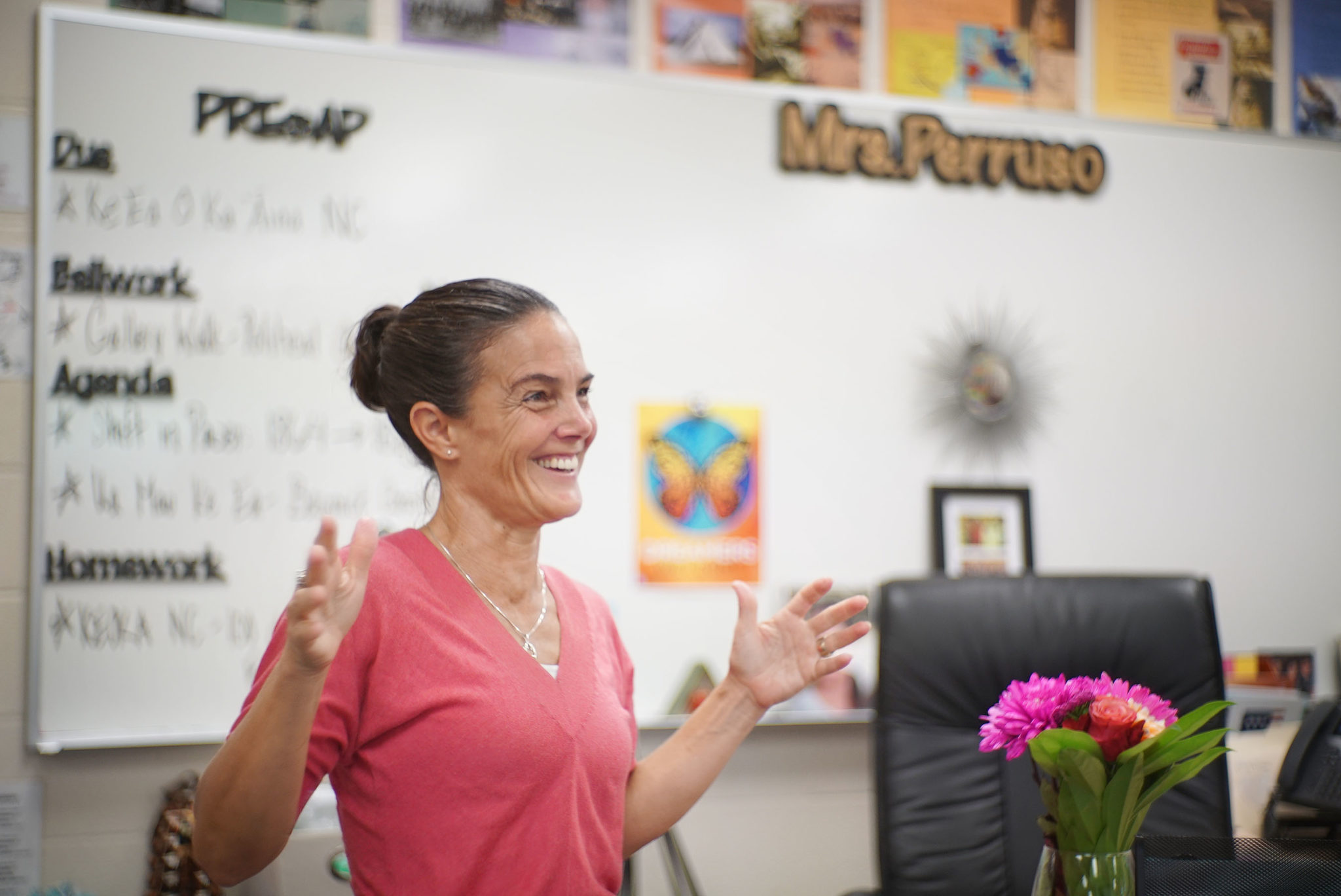 Mrs. Amy Perruso in her Mililani High School classroom.