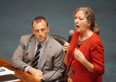 Senator Laura Thielen rises in opposition to SB4 before final senate floor vote.