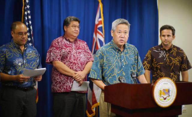 Speaker Saiki speaks to media with Senate president Kouchi, Congresswoman Hanabusa, Sen Dela Cruz and Sen Brian Schatz.