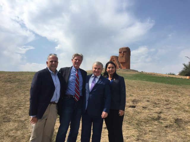 Tulsi Gabbard, at left, poses for picture during visit by a congressional delegation to the self-proclaimed Republic of Artsakh