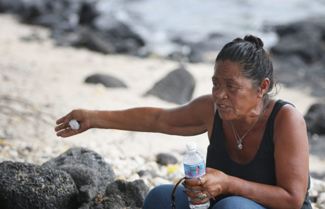 Soniya Soares at Hale Halawai Park in Kailua Kona shares her opinion about moving the homeless out to industrial area/Kealekehe parcel near the high school.