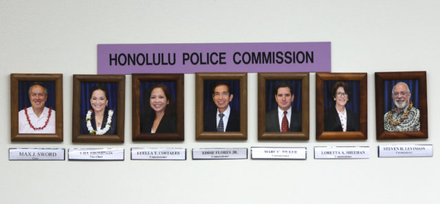 Honolulu Police Commission 2017 june photograph. Since this photograph, Commissioner Costales and Tilker are no longer commissioners.