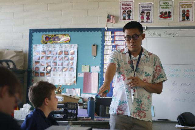 Kailua Intermediate School Teacher Guy Lee team teaches with colleague Ms. Maldonado.