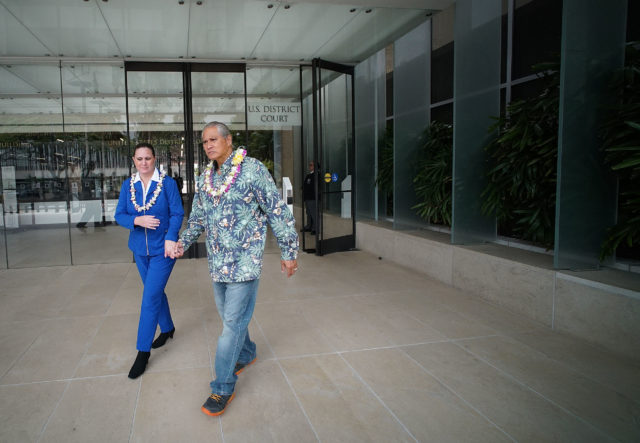 Retired HPD Chief Louis Kealoha and wife Katherline Kealoha exit US District Court.
