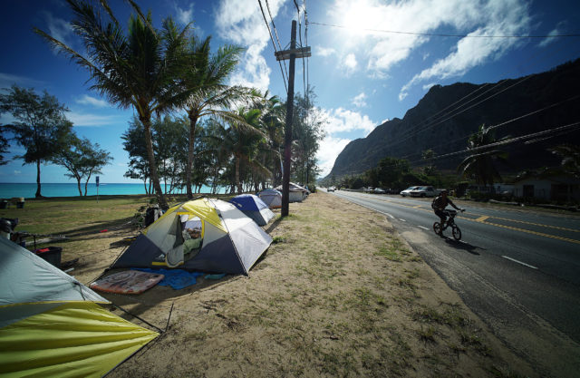 Waimanalo tents along Kalanianiole Highway.
