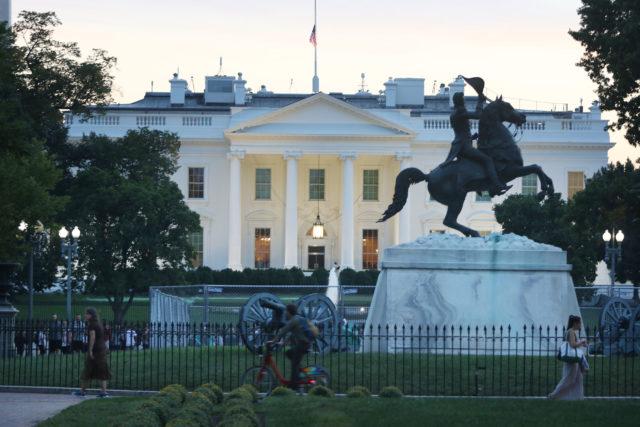 White House sunset Washington DC.