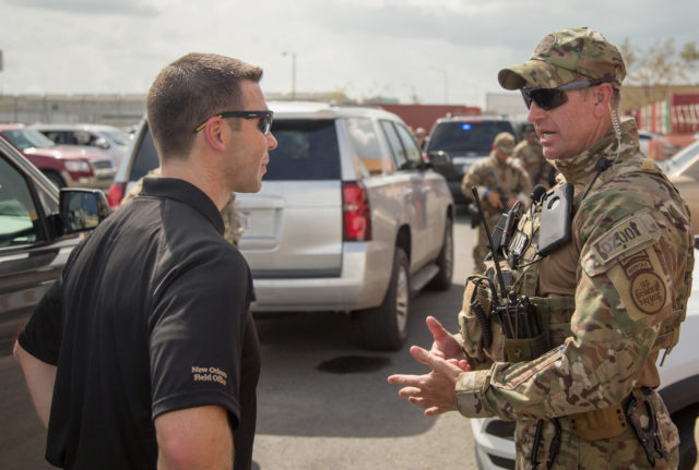 U.S. Customs and Border Protection Acting Commissioner Kevin McAleenan meets with CBP employees and surveys the damage wrought by Hurricane Maria in Puerto Rico, October 5, 2017. U.S. Customs and Border Protection Photo by Mani Albrecht