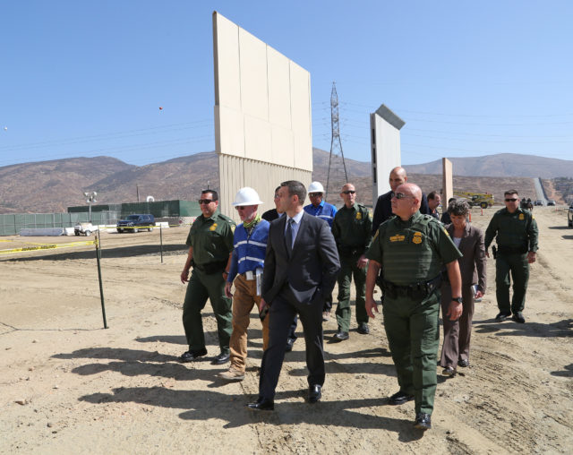 U.S. Customs and Border Protection Acting Commissioner Kevin K. McAleenan tours a wall prototypes being built along the Southwest border between the United States and Mexico. The construction is located near the Otay Mesa Port of Entry in San Diego, Calif., October 12, 2017. U.S. Customs and Border Protection photos by Charles Csavossy