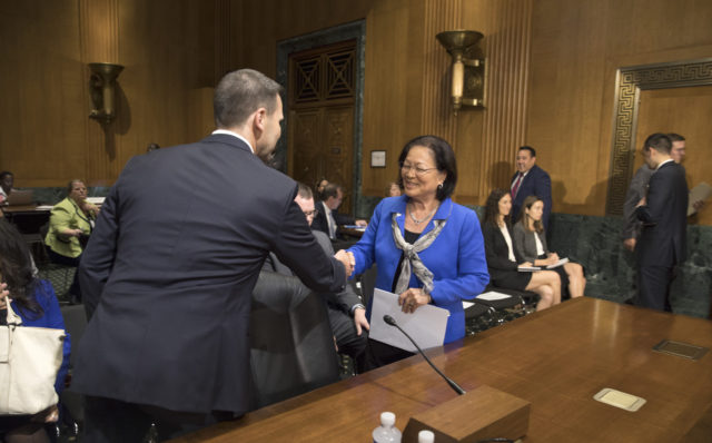 U.S. Customs and Border Protection Acting Commissioner Kevin K. McAleenan thanks Senator Mazie Hirono of Hawaii for her supportive testimony as he appears before the Senate Finance Committee in a hearing to consider his nomination to appointment of Commissioner to U.S. Customs and Border Protection, October 24, 2017. U.S. Customs and Border Protection photo by Glenn Fawcett