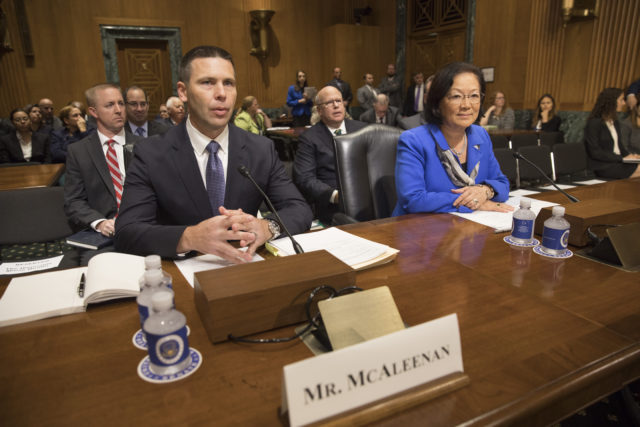 U.S. Customs and Border Protection Acting Commissioner Kevin K. McAleenan, left, and Senator Mazie Hirono appear before the Senate Finance Committee in a hearing to consider his nomination to appointment to Commissioner of U.S. Customs and Border Protection, October 24, 2017. U.S. Customs and Border Protection photo by Glenn Fawcett
