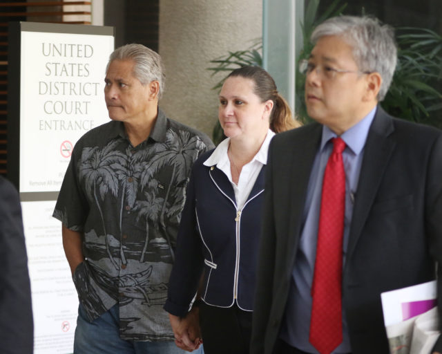 Retired HPD Chief Louis Kealoha and Katherine Kealoha at District Court.