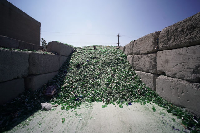 RRR Recycling Services Hawaii green glass pile.