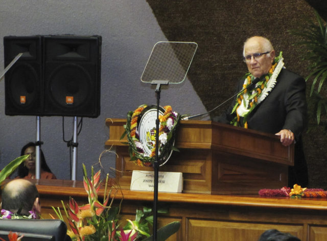 "File - In this Jan. 21, 2015, file photo, Hawaii House Speaker Joe Souki delivers opening remarks on the first day of the state's legislative session in Honolulu. Conflicts of interest are scattered around at the Hawaii State Legislature, where many lawmakers work outside jobs. Bills that could benefit or harm lawmakers' sources of income often come up. Lawmakers argue there are good reasons for voting even in such circumstances. ""The bottom line is that we are a part-time legislature,"" Souki said. ""People work and they're going to have potential conflicts because of their job."" (AP Photo/Cathy Bussewitz, File)"
