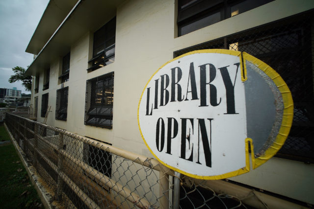 Maikiki Library open sign for Olivia's story.