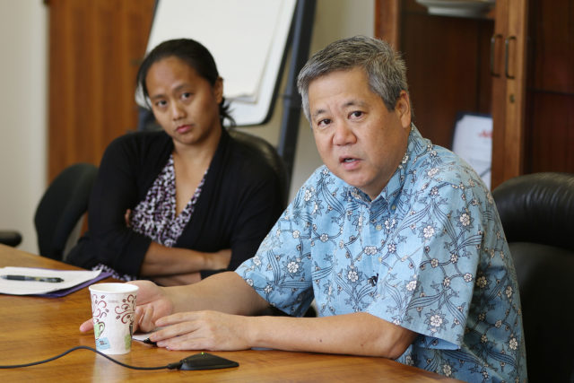 House Legislature editorial meeting with Speaker Scott Saiki and Majority Leader Della Au Belatti.