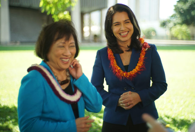 Rep Colleen Hanabusa Congresswoman Tulsi Gabbard endorsement presser.