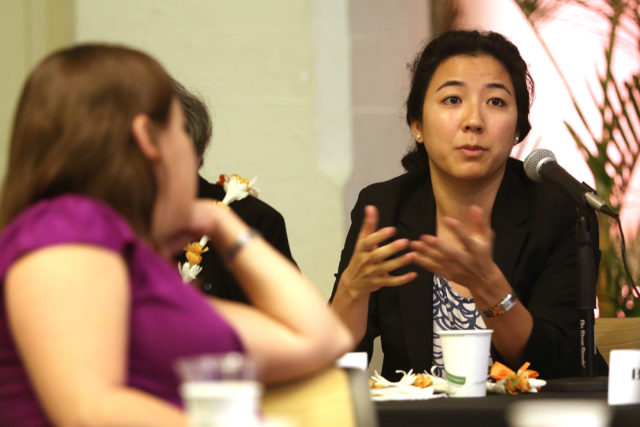 Rep Linda Ichiyama UH question on sexual harrassment on campus during womens caucus breakfast held at YWCA.