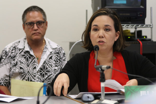 Sen Jill Tokuda during cesspool forum flanked by Maui senator J. Kalani English.