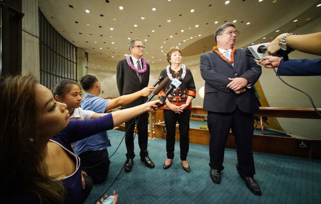 Senate President Ron Kouchi, Sen Michelle Kidani and left Sen J.Kalani English during press availability post Governor Ige 'State of the State' address.