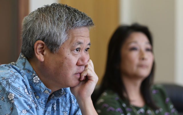 Speaker Scott Saiki listens to questions at Civil Beat editorial board meeting held at Speaker's office.