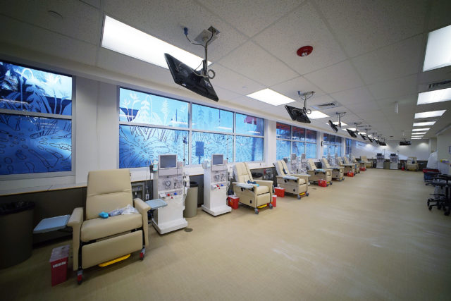 Fresenius Kidney Care facility with 24 hemo dialysis stations.