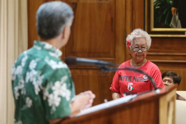 Na Lei Hulu Kupuna resident Damiana Vierra tells Governor Ige that if the rent becomes higher she wont be able to afford her unit and will be homeless.