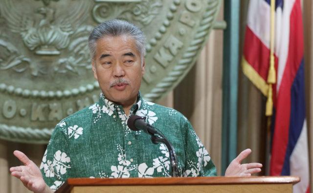 Governor David Ige speaks to media and residents of Na Lei Hulu Kupuna.